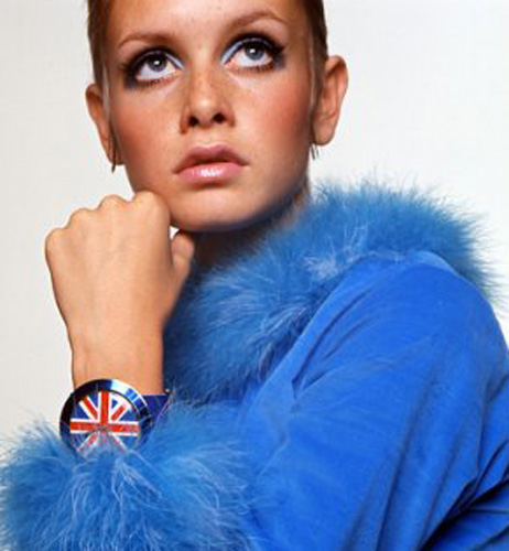 Twiggy Wearing a Richard Loftus Old England Watch - 1968